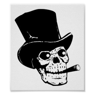 Skull w/ Top Hat Poster