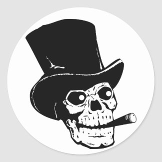 Skull w/ Top Hat Round Sticker