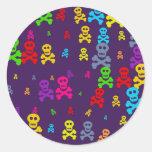 Skull Wallpaper Round Sticker
