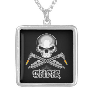Skull Welder and Crossed Torches Square Pendant Necklace