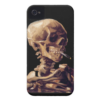 Skull with a burning cigarette by Van Gogh iPhone 4 Cases