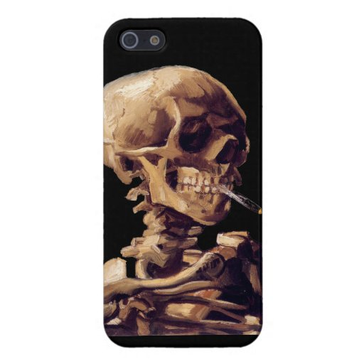 Skull with a burning cigarette by Van Gogh Cases For iPhone 5