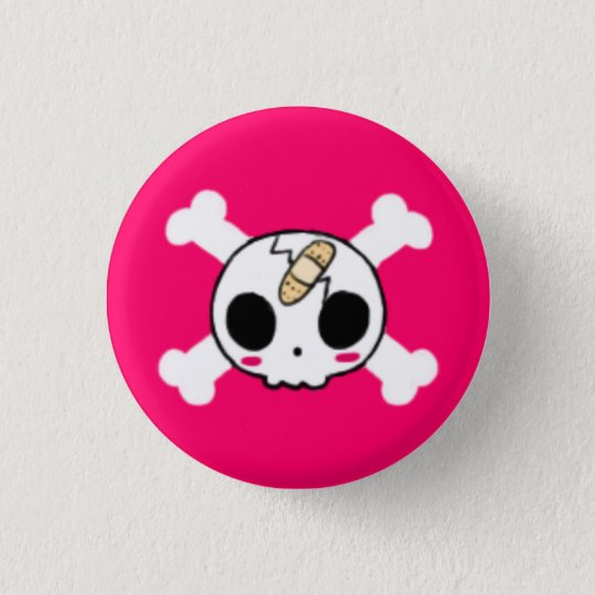 Skull with Band-aid 3 Cm Round Badge