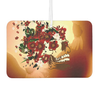 Skull with beautiful flowers car air freshener
