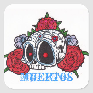 skull with big eyes square sticker