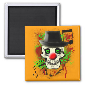 Skull with Black Hat Red Clown Nose and Grunge Bac Square Magnet