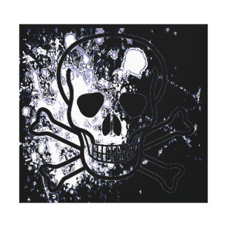 Skull with blood drops stretched canvas print