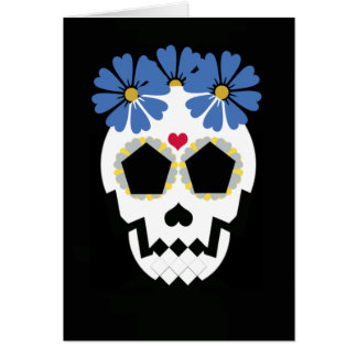 Skull With Blue Flowers Card