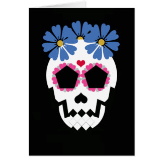 Skull With Blue Flowers Greeting Card