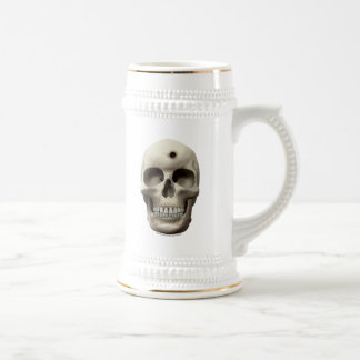 Skull with Bullet Hole Beer Stein