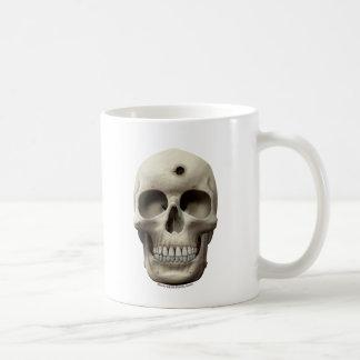 Skull with Bullet Hole Basic White Mug