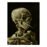 Skull with Burning Cigarette by Van Gogh Poster