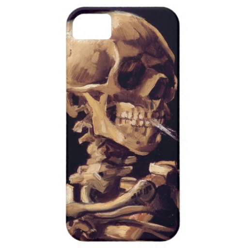 Skull with burning cigarette Painting Van Gogh iPhone 5 Cases