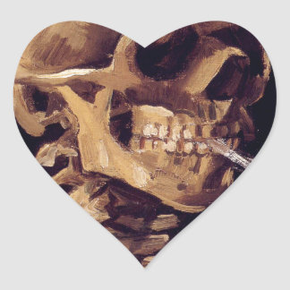 Skull with burning cigarette Painting Van Gogh Heart Sticker
