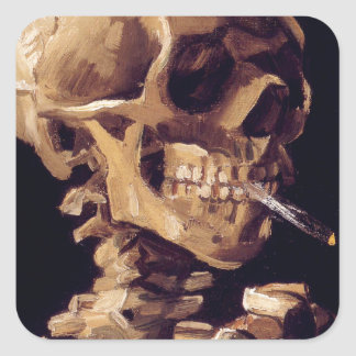 Skull with burning cigarette Painting Van Gogh Square Sticker