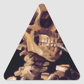 Skull with burning cigarette Painting Van Gogh Triangle Stickers