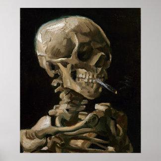 Skull with Burning Cigarette Vincent van Gogh Art Poster