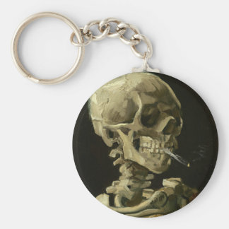 Skull with Cigarette by Van Gogh Basic Round Button Key Ring