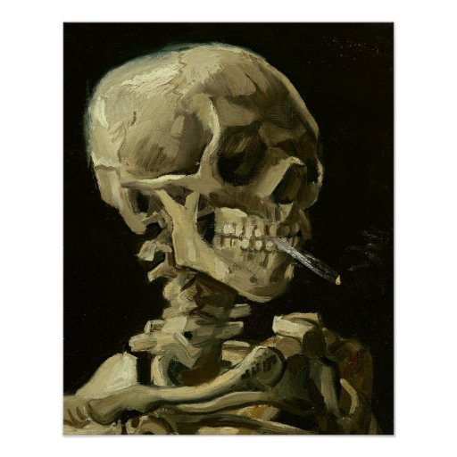 Skull with Cigarette by Van Gogh Poster