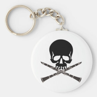 Skull with Clarinets and Crossbones Key Ring