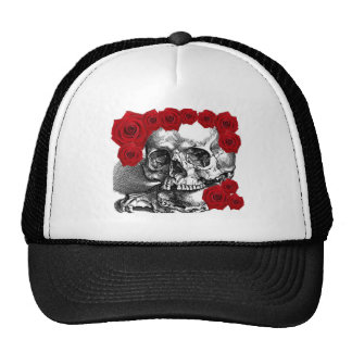 SKULL WITH CLAWS AND ROSES VINTAGE PRINT MESH HATS