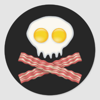 Skull With Crossed Bacon  Skull Bacon Eggs Classic Round Sticker