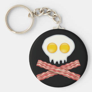 Skull With Crossed Bacon  Skull Bacon Eggs Key Ring