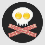 Skull With Crossed Bacon  Skull Bacon Eggs Round Sticker