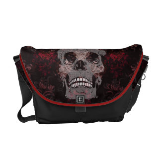 Skull with Crown on Grunge Black Lace Red Damask Courier Bag