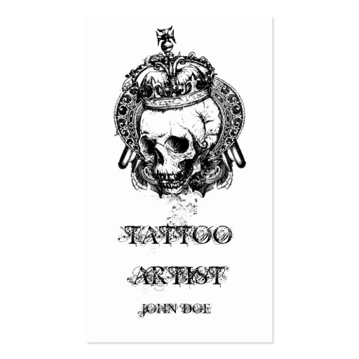 Skull with Crown Tattoo Artist Business Card Templates
