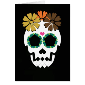 Skull With Fall Hued Flowers Card