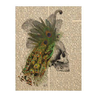 Skull With Feather Headress Wood Wall Art