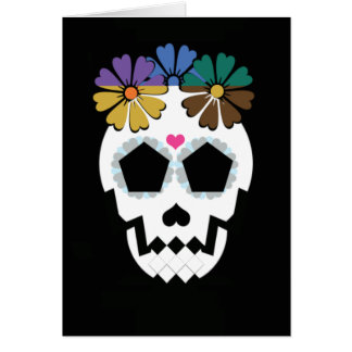 Skull With Flowers Card