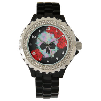 Skull with Flowers Design Wrist Watch