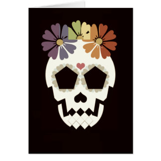 Skull With Flowers Sepia Greeting Card