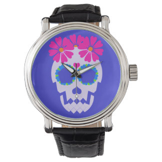 Skull With Flowers Watch