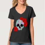 Skull with Flowers Women's Top Tshirt