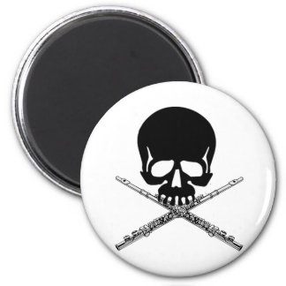 Skull with Flutes as Crossbones 6 Cm Round Magnet