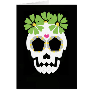 Skull With Green Flowers Greeting Card