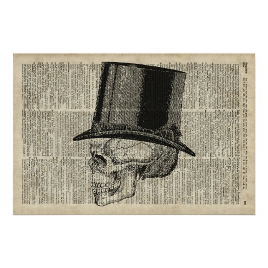 Skull with hat steampunk poster
