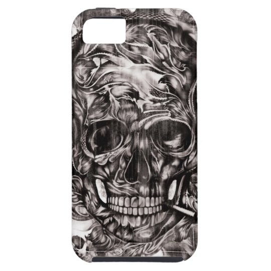 Skull with headphones hand drawn artwork. tough iPhone 5 case