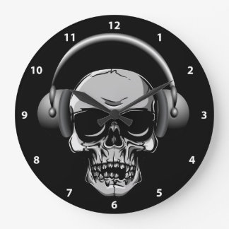 Skull with Headphones & Sunglasses Clock