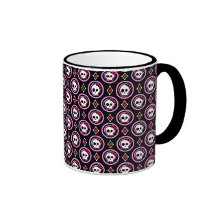 Skull with heart and bow design mugs