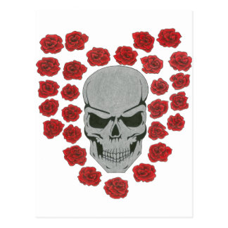 skull with heart roses post card