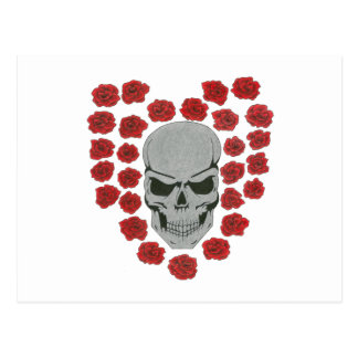 skull with heart roses postcard