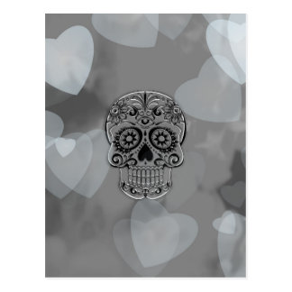 skull with hearts postcard