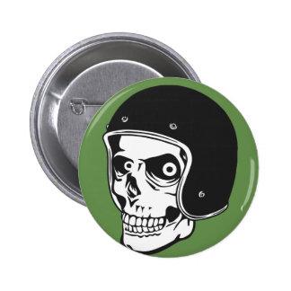 Skull with helmet 6 cm round badge