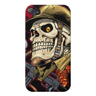 Skull with Helmet, Aeroplanes and Bombs iPhone 4 Case