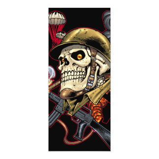 Skull with Helmet, Airplanes and Bombs 10 Cm X 24 Cm Invitation Card