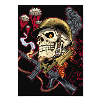 Skull with Helmet, Airplanes and Bombs 13 Cm X 18 Cm Invitation Card